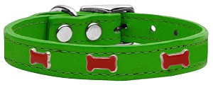 Red Bone Widget Genuine Leather Dog Collar Emerald Green 14